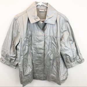 Chico's Silver Waxed Linen 3/4 Sleeve Jacket